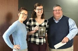 Amber Karel Gerace, Meghan Gibbons and Skip Begley posing for photo with an award