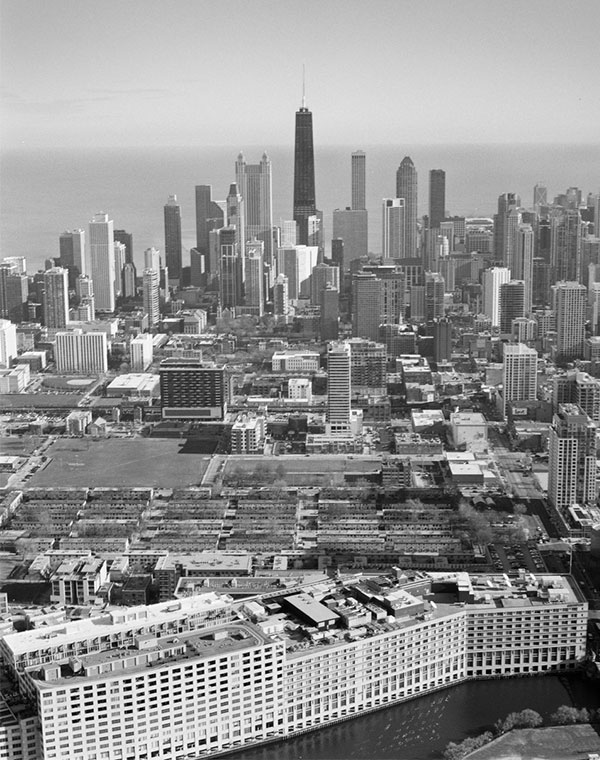 LaToya Ruby Frazier's aerial photograph of the Chicago skyline and Cabrini-Green public housing project.