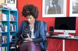 Photo of LaToya Ruby Frazier in her office.