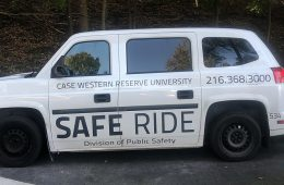Photo of a Safe Ride van on campus