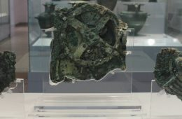 A photo of the Antikythera Mechanism in the National Archaeological Museum in Athens, Greece