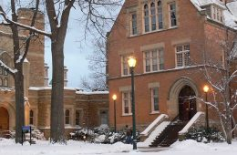 Photo of Clark Hall surrounded by snow on Mather Quad