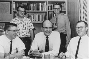 early 1960s photo of Texas Instruments engineers, including Charles H. Phipps