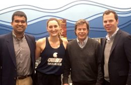Dhruv Seshadri, Samantha Magliato, Professor Colin Drummond, Dr. James Voos pose for photo together