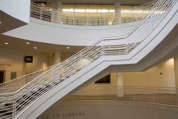 Photo of the interior stairs at Kelvin Smith Library