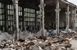 buildings ravaged by the civil war in Yemen