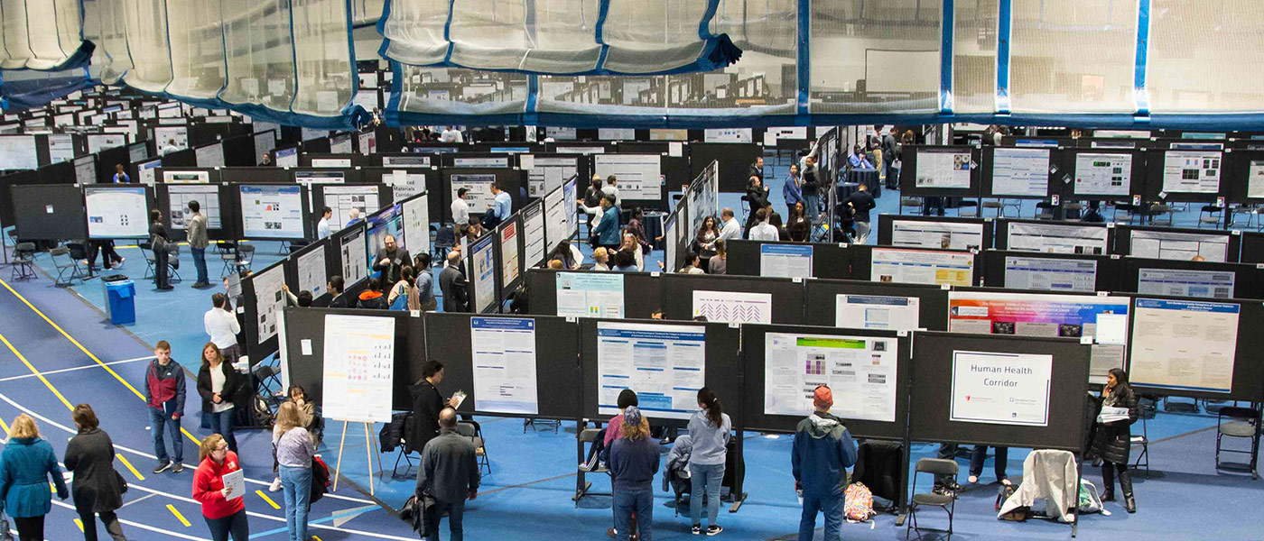 Photo of CWRU's Research Showcase exhibit floor