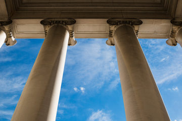 Interior view of columns at a bank entrance