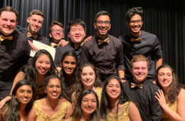 Dhamakapella posing with runner-up award at the ICCA quarterfinals 2019