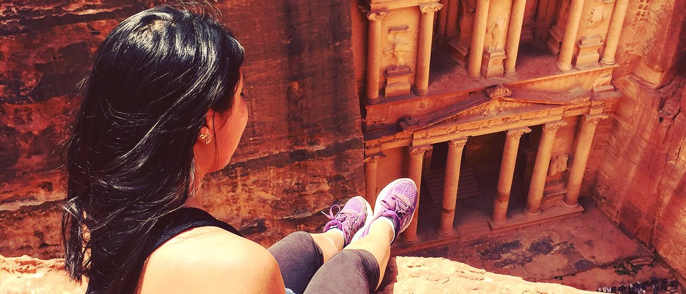 CWRU student Liana Kabins overlooking a Jordan landmark during a study abroad trip