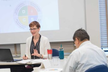 A Case Western Reserve University professional development instructor teaches a class