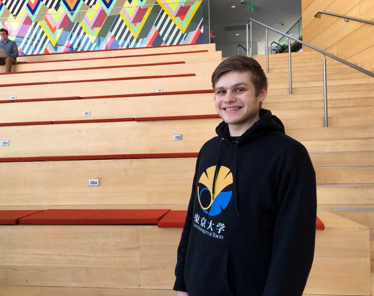 Case Western Reserve student Josh Laurienzo standing in the TInkham Veale University Center