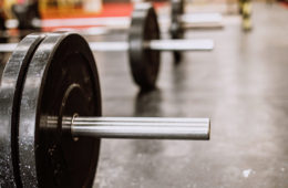 Photo showing a row of barbells in a gym
