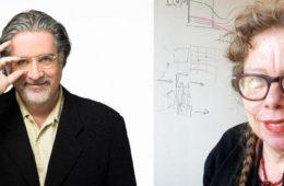 Photo compilation of photos of Matt Groening and Lynda Barry