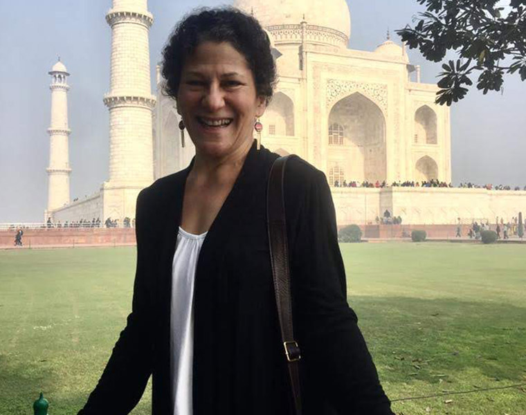 Debby Jacobson poses for a photo in front of the Taj Mahal