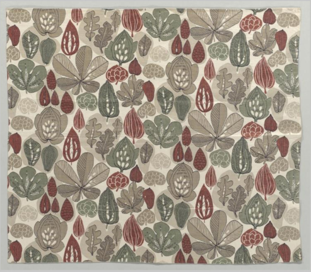 Photo of a Swedish textile that depicts fall leaves