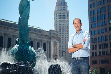 Professor Michael Goldberg standing in downtown Cleveland