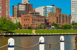 Photo of the Cuyahoga River with downtown Cleveland in the background