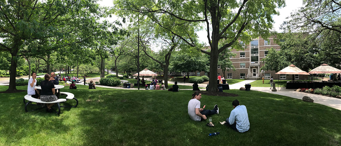 Photo of people sitting on the ground and on picnic tables during a BBQ on the Quad event
