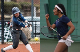Photo compilation with photo of Nicole Doyle swinging at a pitch in a softball game and photo of Nithya Kanagasegar giving a fist pump and holding a tennis racket during a match