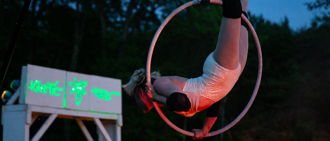 Photo of Jaime Bouvier performing an aerial circus act