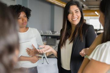 An entrepreneur pitching investors