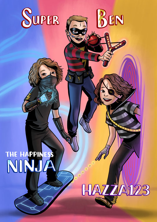 Poster showing three boys, one named Super Ben with a slingshot in the middle, one named the Happiness Ninja with a hoverboard on the left, and another on the right called Hazza123 coming through a portal