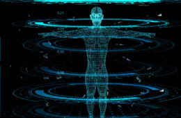 illustration of human being scanned by computers