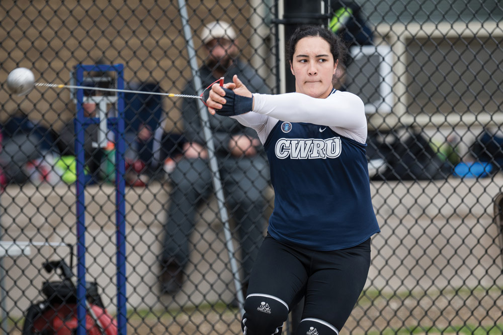 Photo of Cassandra Laios throwing the hammer