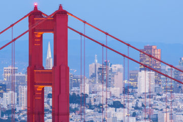 Photo of the Golden Gate Bridge and San Francisco in the background