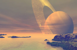 an artist's rendering of the seas of the moon Titan, with a view of Saturn in the sky above