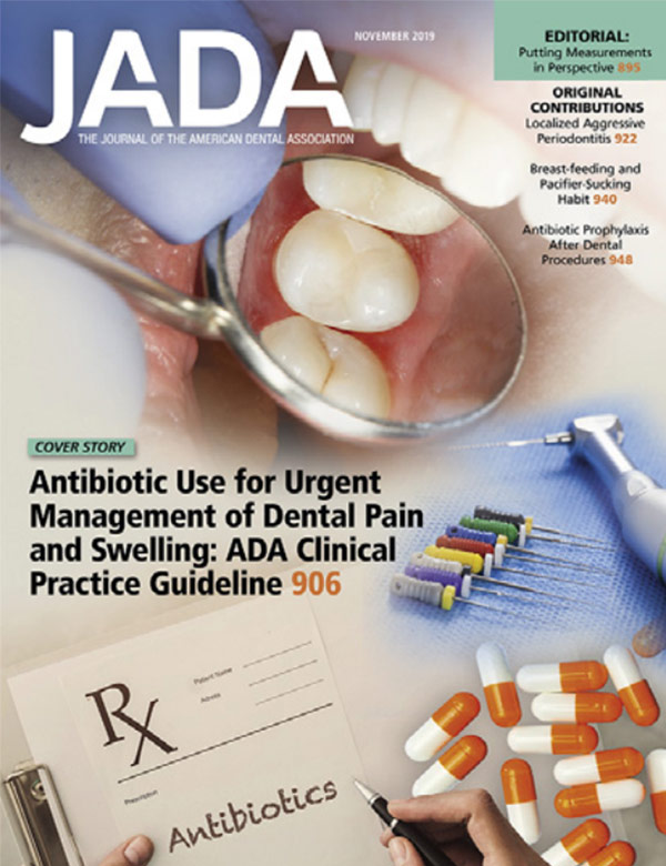 The magazine cover of the November issue of the American Dental Association
