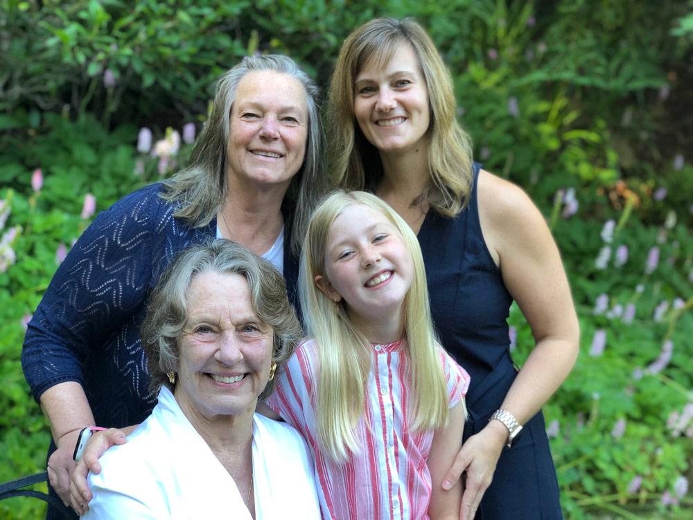 Linda K. O'Dell, Megan Holmes, Diana E. Schneider and Madeline Holmes pose for a photo together