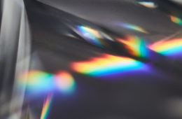 Photo of a color spectrum showing on a prism