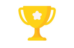 illustration of a yellow trophy cup with a white star