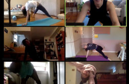 Collage of six images from web cameras of dance students practicing yoga