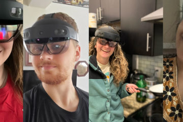 Students using Hololens to study