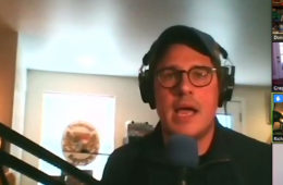 Screenshot of Rich Sommer talking during a Zoom meeting with students