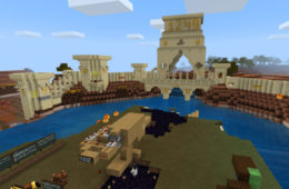 "Screenshot of a Minecraft design that depicts The Battle of Damietta as described in ""Joinville's Life of Saint Louis"""