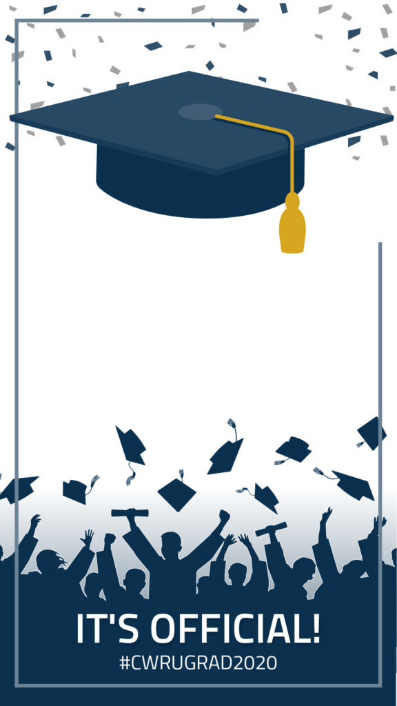 "Example of an Instagram sticker with confetti and a grad cap at the top and silhouettes of graduates throwing their caps with text that says ""It's official"" and ""#CWRUGRAD2020"" along the bottom"