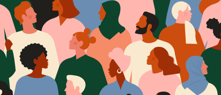Photo illustration showing people from different races and genders