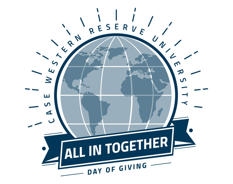 "Image of the Day of Giving logo that shows a globe and says ""all in together"""