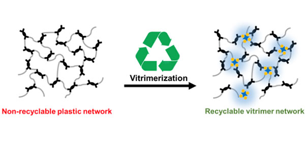 a graphic showing plastic structure before and after vitrimization