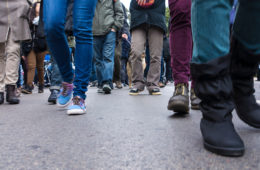 Photo of protestors' feet on a street