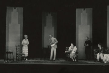 "Black and white photo showing actors on the stage during a 1930 performance of Cleveland Play House's ""The Importance of Being Earnest"""
