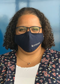 Photo of Megan Koeth, Case Western Reserve's director of resiliency, wearing a face mask