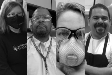 Black and white headshots of six Case Western Reserve employees who remained on campus working during the pandemic