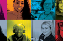 Collage of eight headshots with color overlays of Case Western Reserve students, faculty and staff learning remotely