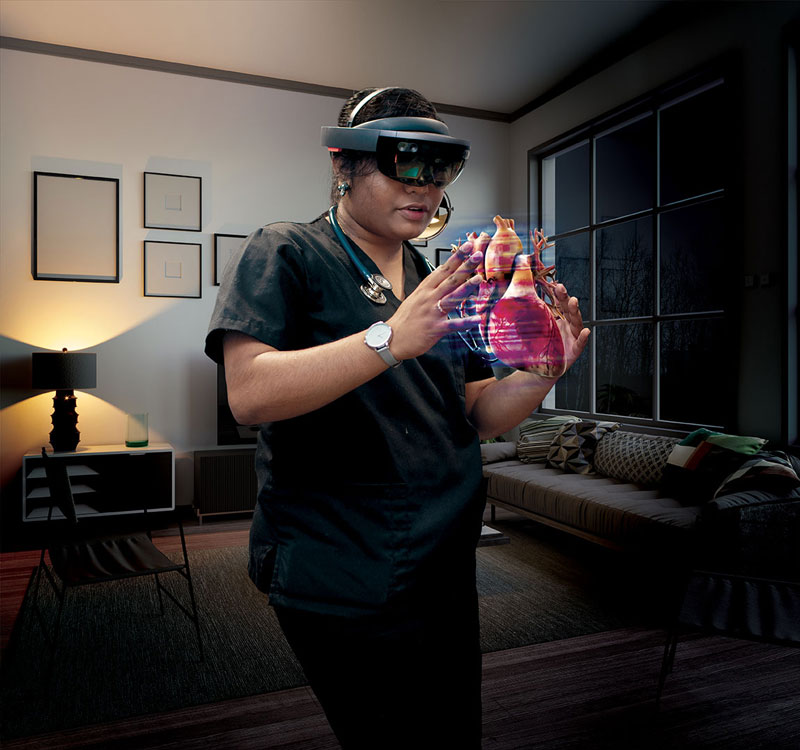 A photo illustration of a Case Western Reserve medical student using HoloAnatomy at home
