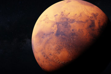 Rendering of the planet Mars partially obscured by darkness